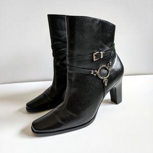 Harley-Davidson Black Leather Heel Boots Booties
